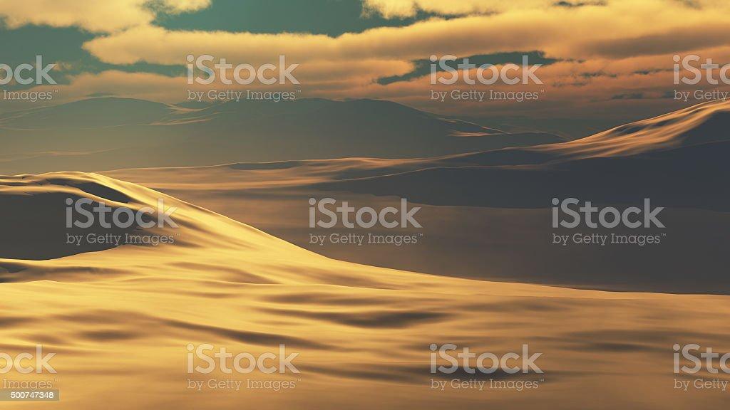 Desert at sunset stock photo