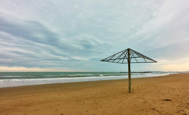 Desert beach in Rimini at low season stock photo