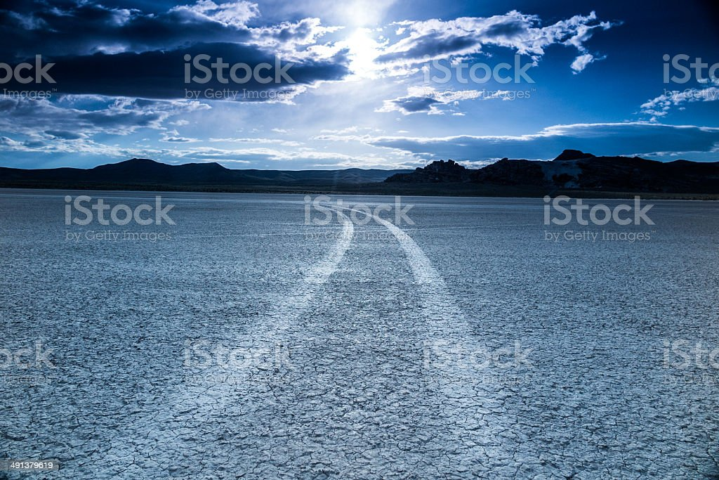 desert blue road trip stock photo