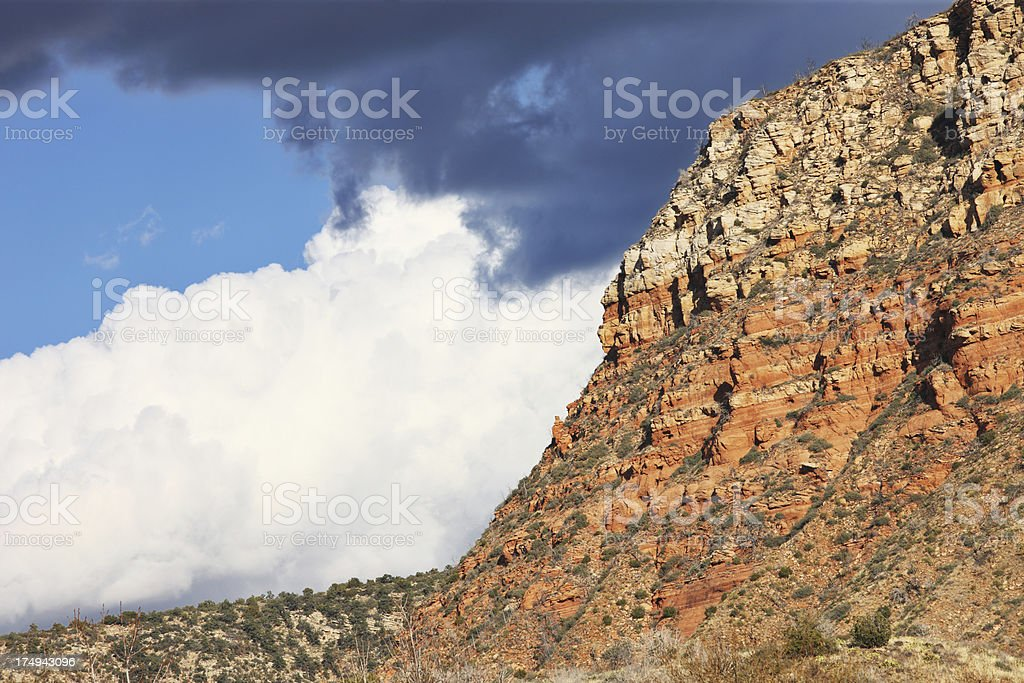 Desert Butte Terrain Storm Clouds royalty-free stock photo