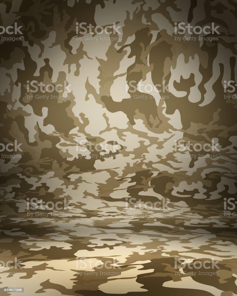 Desert Camouflage studio portrait backdrop with floor. 3d rendering stock photo