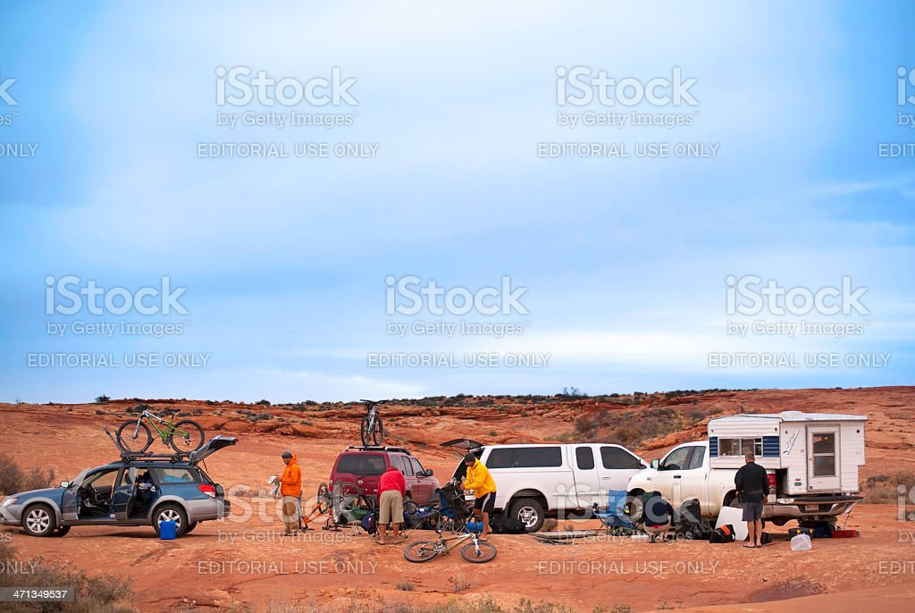 desert camping stock photo