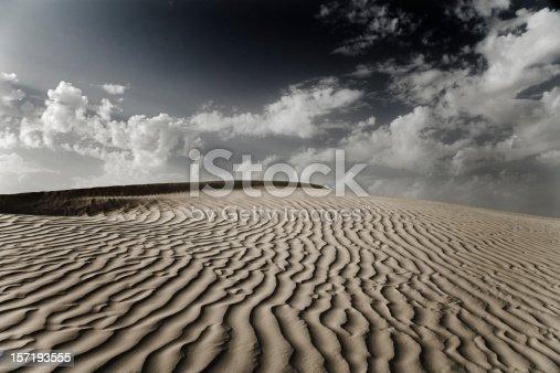 Dunes in the Sahara Desert, Tunisia. Soft light through the clouds
