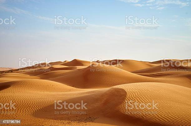 wind blowing on the desert dunes of Oman