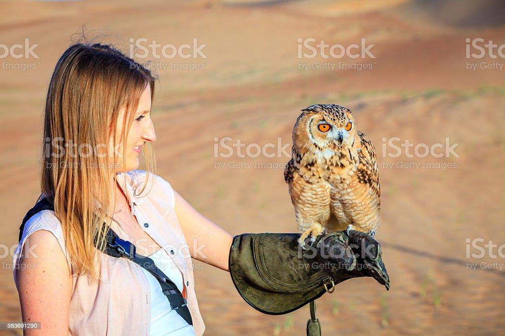 Desert Eagle Owl in training stock photo