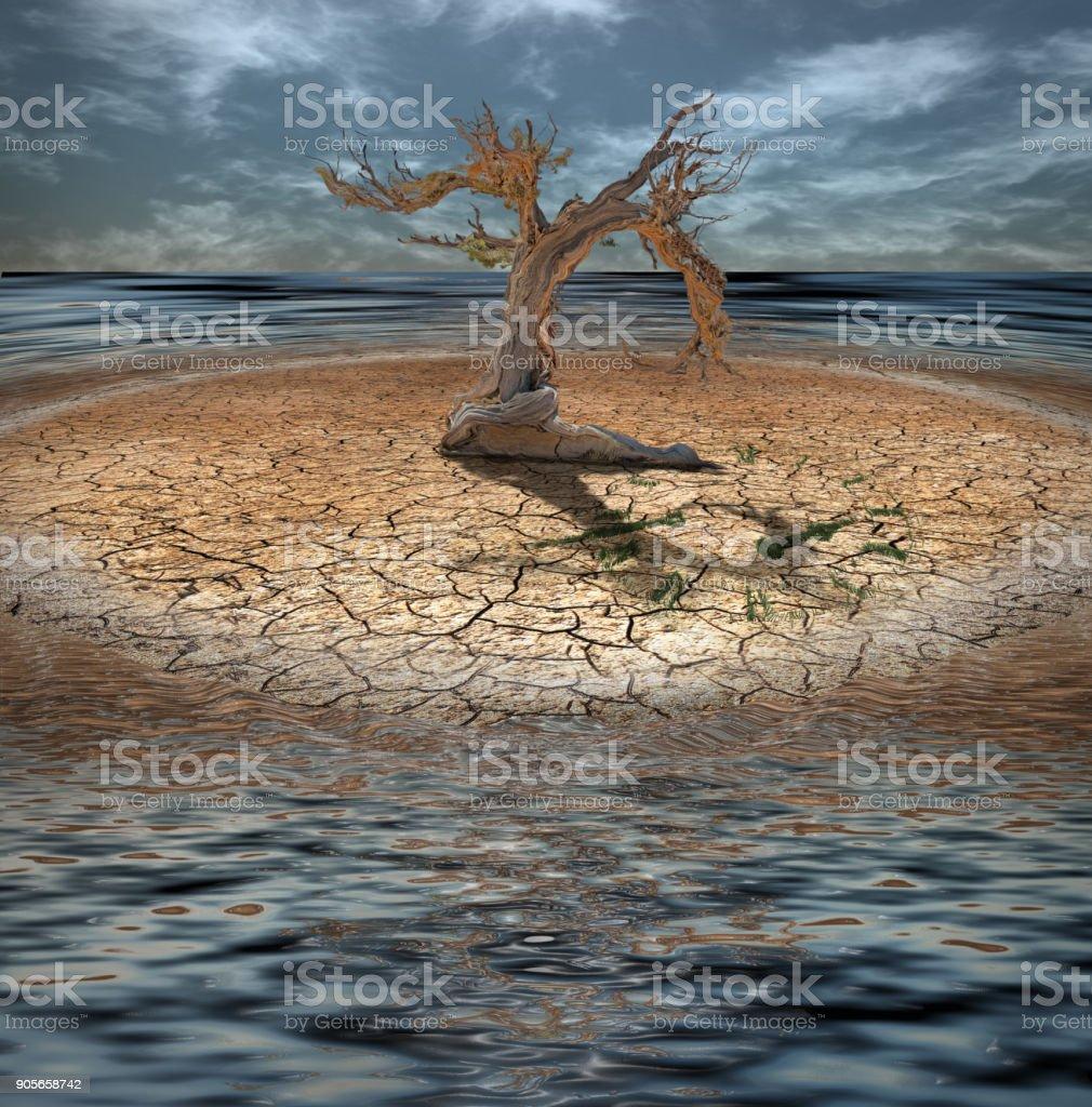 Desert Flood Island royalty-free stock photo