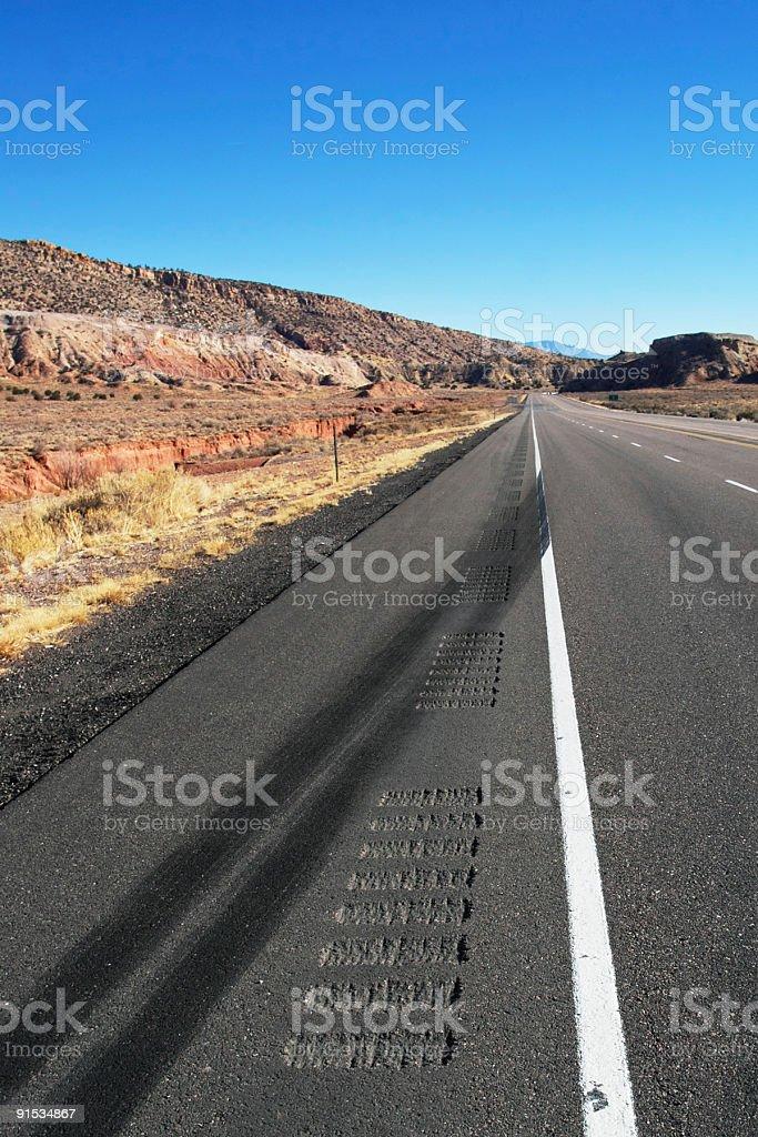 desert freeway skid marks royalty-free stock photo