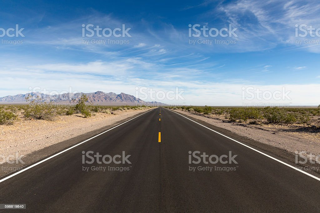 desert highway, Death Valley National Park,  California, USA stock photo