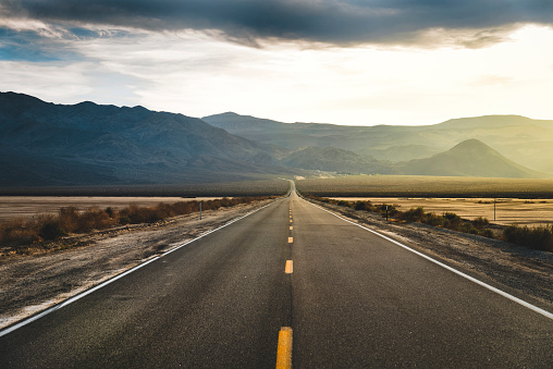 Desert Highway at Death Valley National Park, California, USA.