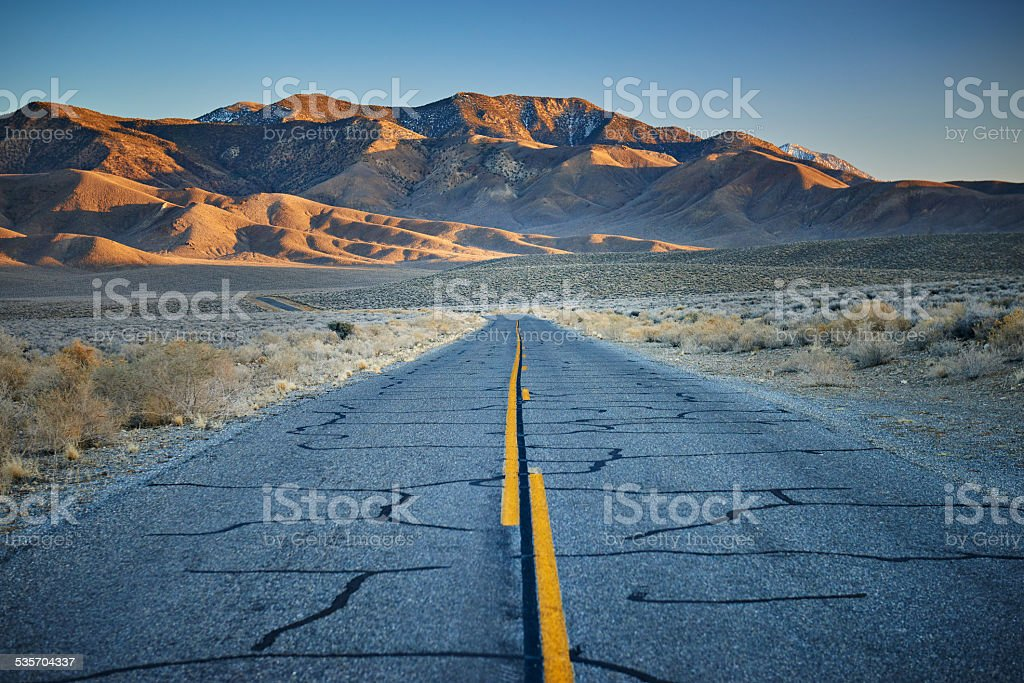 Desert highway in California stock photo