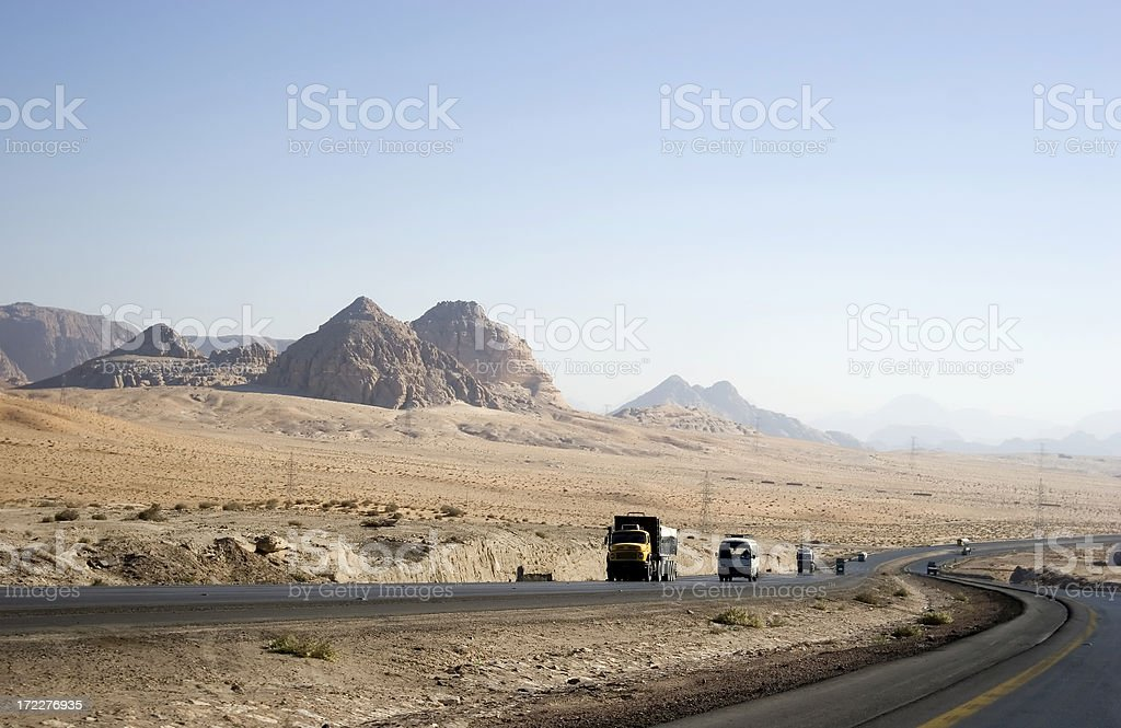 Desert Highway, Jordan royalty-free stock photo