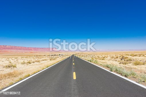 An empty desert highway in northern Arizona.