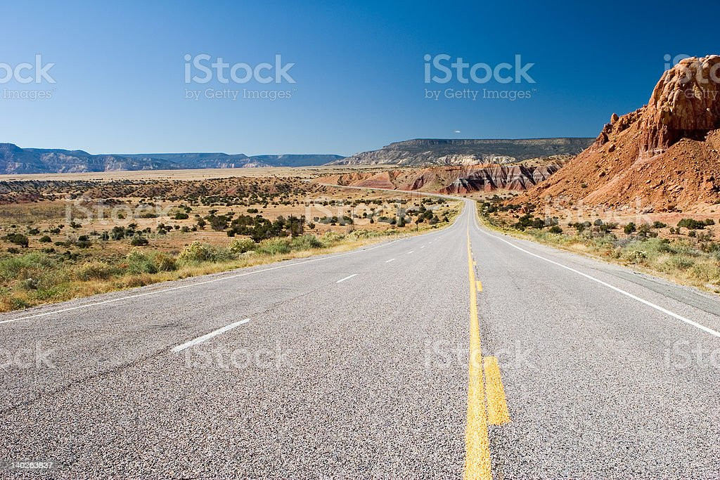 Desert highway (high view) royalty-free stock photo