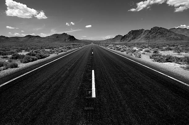 desert highway - dotted line stock photos and pictures