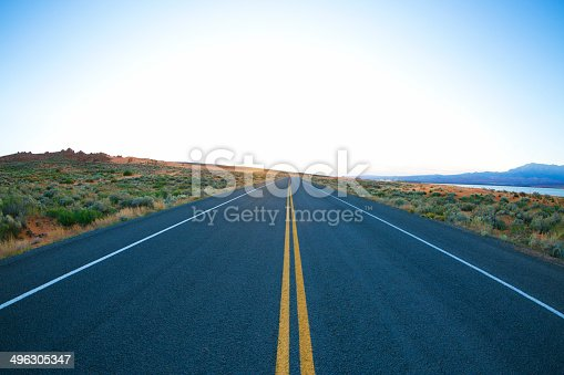 A quiet stretch of highway in Utah, USA. Popular with road bicyclists, motorcycle riders and motorists.