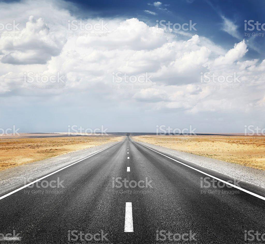 desert highway desert highway Asphalt Stock Photo