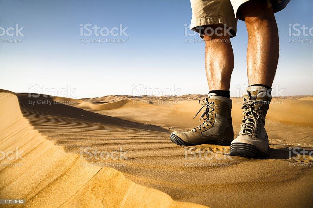Desert Hiker Rub' al Khali of Abu Dhabi, UAE royalty-free stock photo