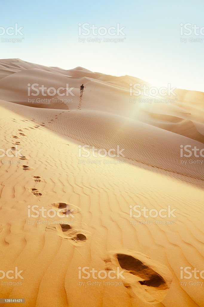 Desert Hiker Rub' al Khali of Abu Dhabi, UAE stock photo