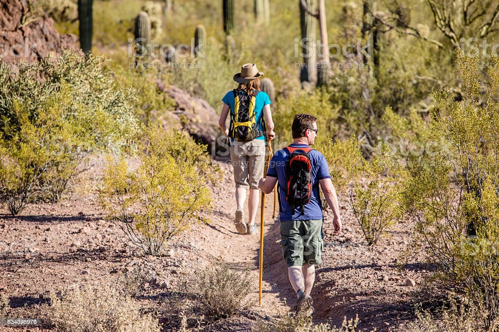 Desert Hikers on Rugged Trail stock photo