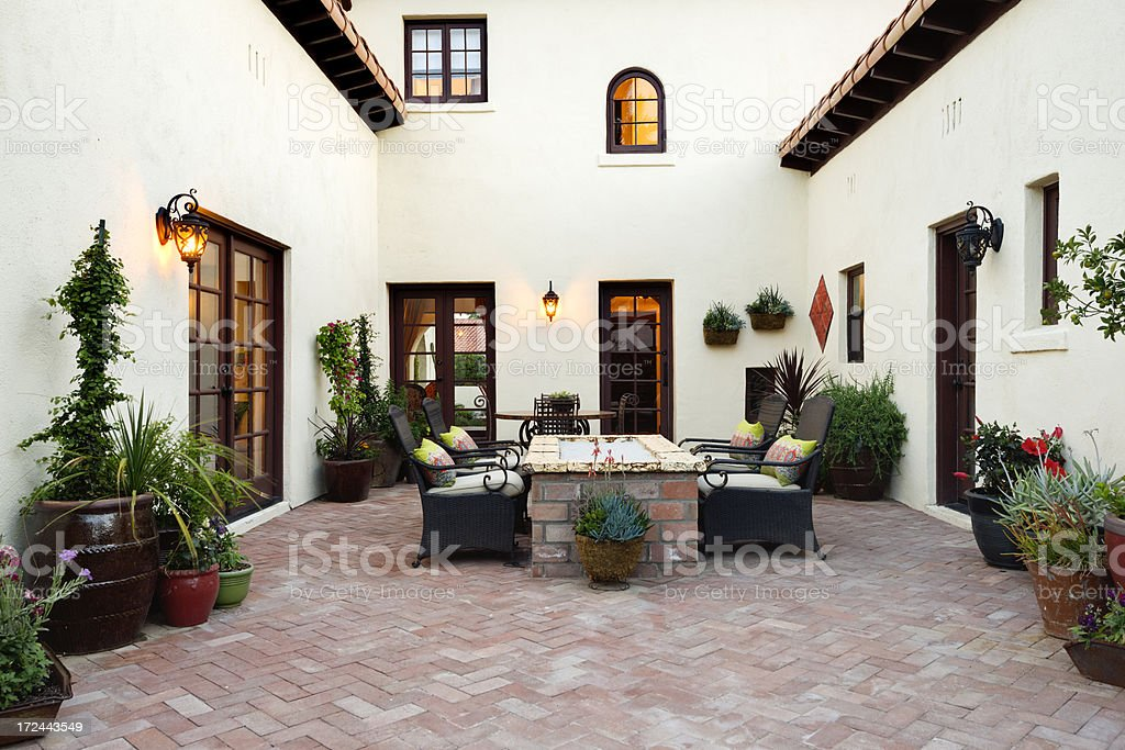 Desert home backyard. stock photo