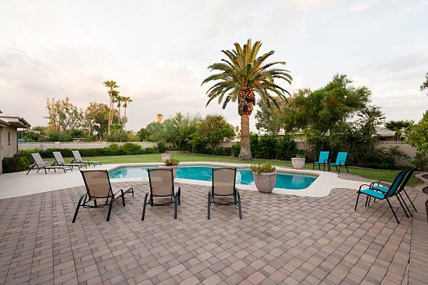 Desert home backyard with a pool stock photo