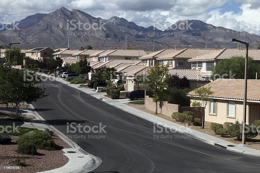 Desert Homes and Mountains stock photo