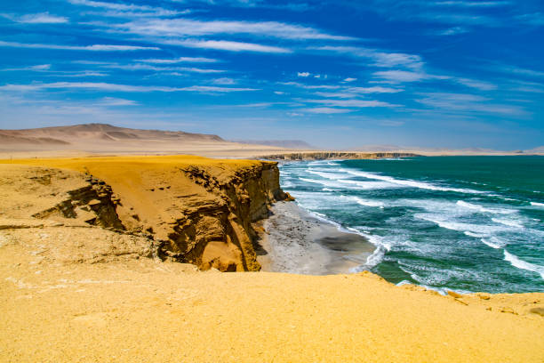 Desert in Peru The desert of the Paracas National Reserve in south west Peru, South America. pisco peru stock pictures, royalty-free photos & images