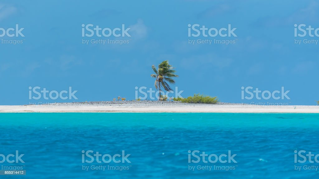 Desert island, in French Polynesia stock photo