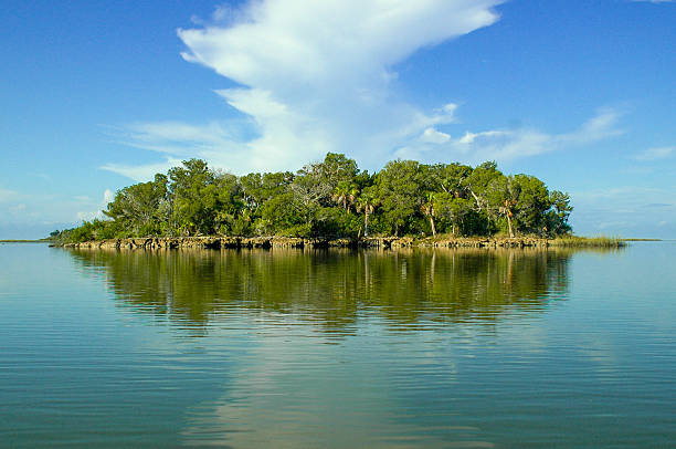 desert island reflection in calm water - desert island stock photos and pictures