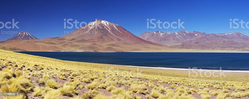 Desert lake Laguna Miscanti and Miscanti volcano, Altiplano, Chile stock photo