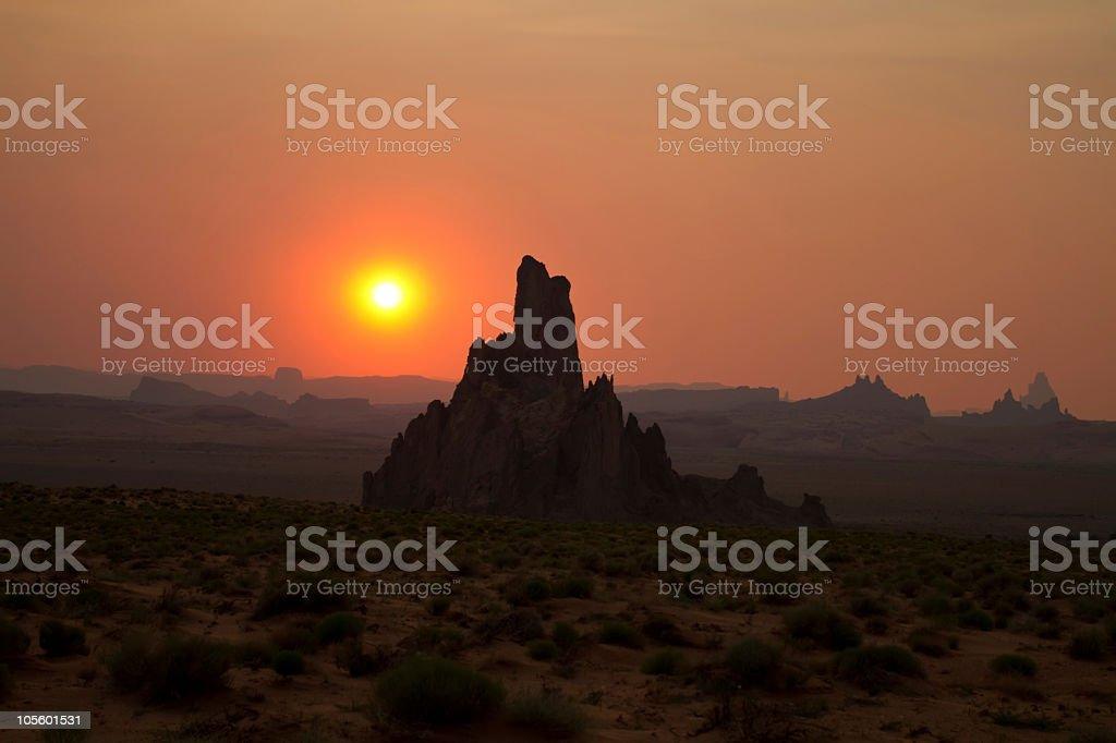 Desert landscape during sunset royalty-free stock photo