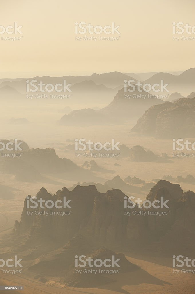 Desert landscape from the air stock photo