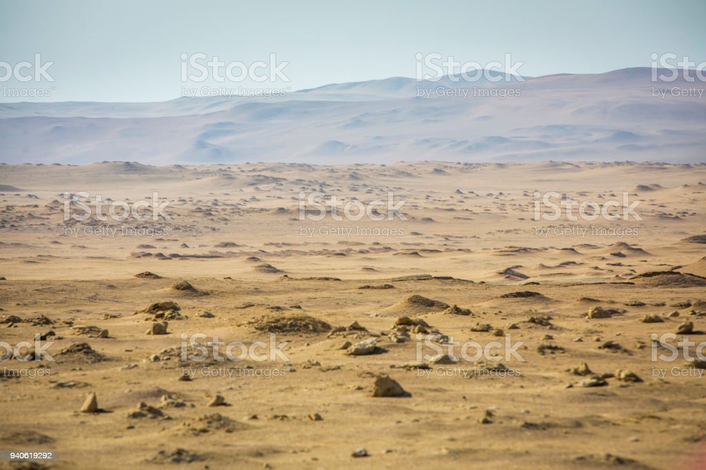 Desert landscape in Paracas National Park. stock photo