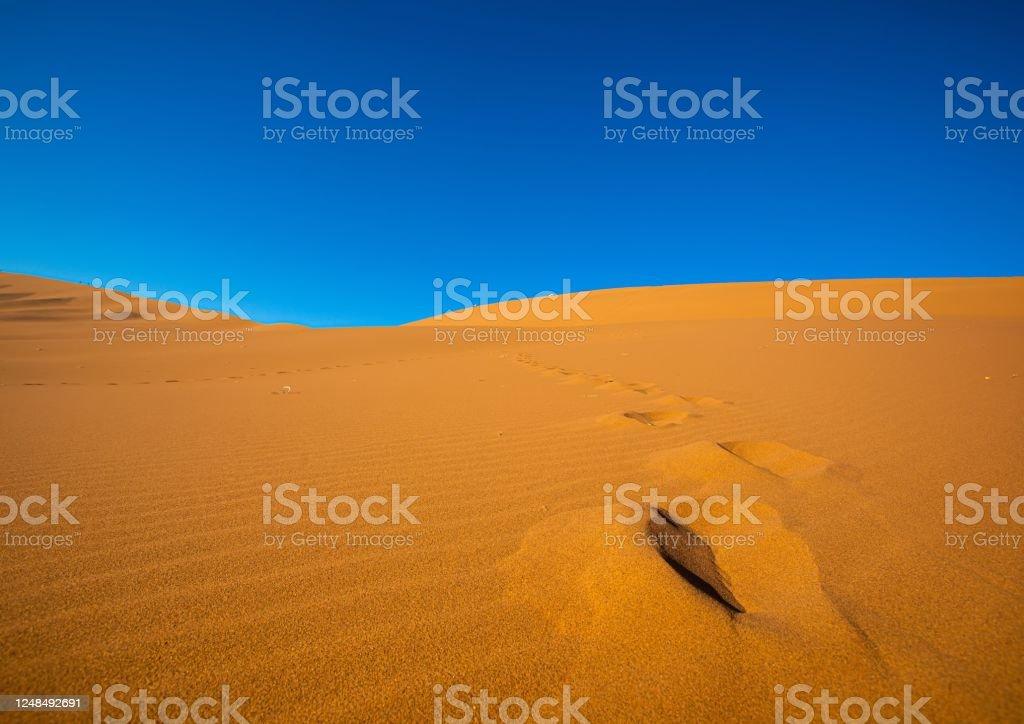Desert landscape in Sossusvlei in the Namib Desert in Namibia Desert landscape in Sossusvlei in the Namib Desert in Namibia during summer Adventure Stock Photo