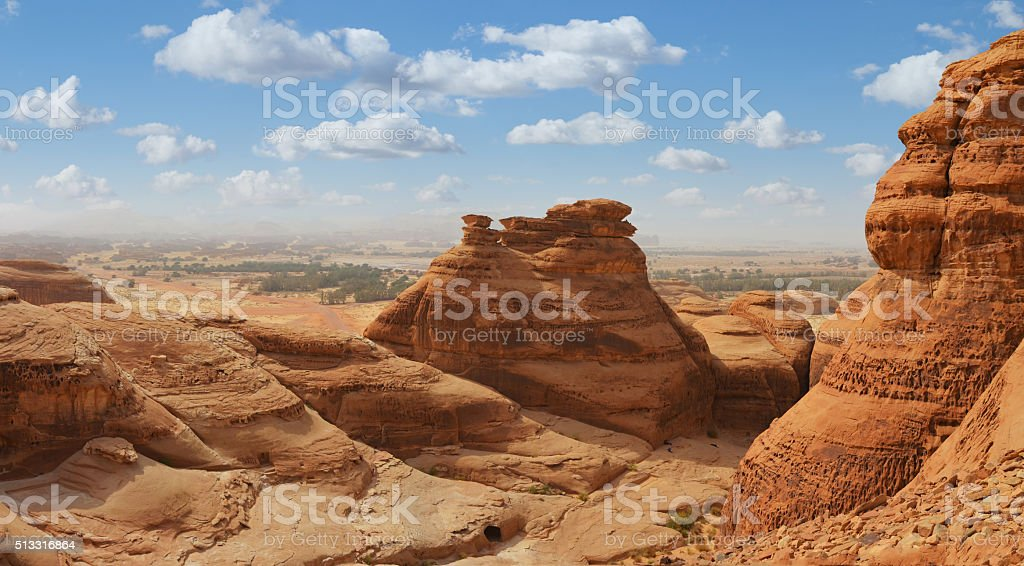 desert landscape panorama , madain saleh , saudi arabia stock photo