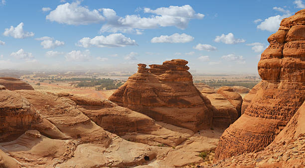 desert landscape panorama , madain saleh , saudi arabia desert landscape panorama , madain saleh , saudi arabia saudi arabia stock pictures, royalty-free photos & images