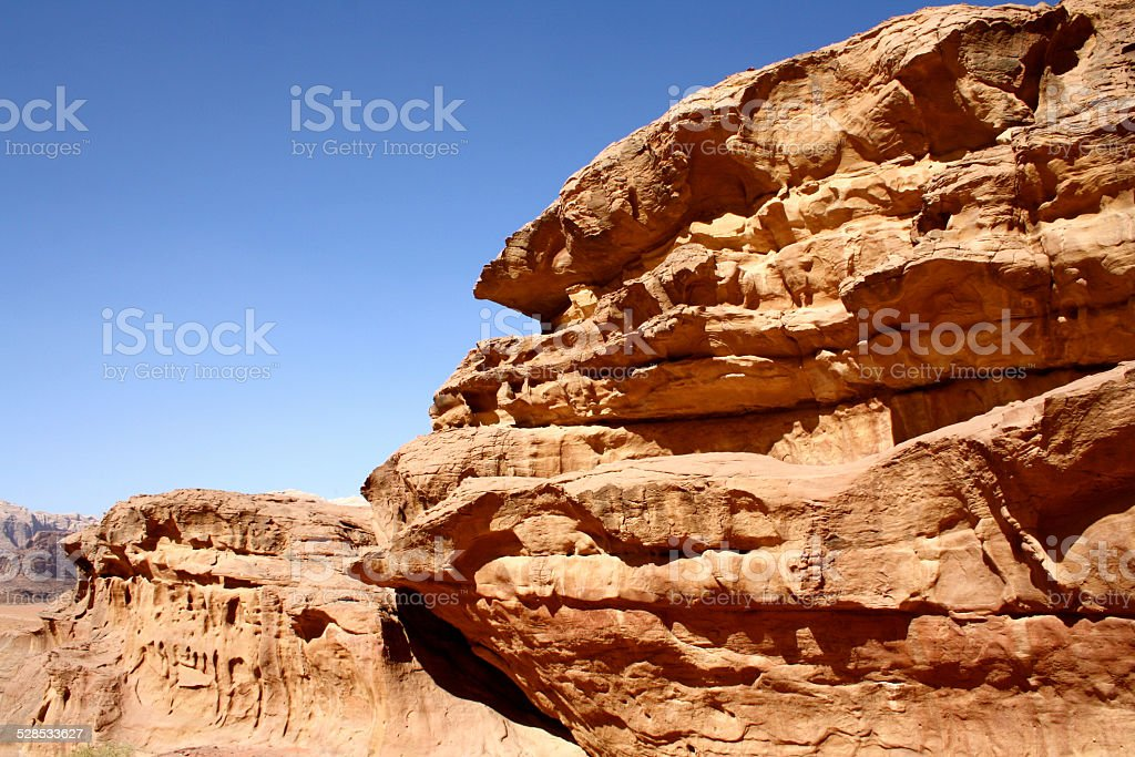Desert Landscape, Rock Formations and Blue Sky, Wadi Rum, Jordan stock photo