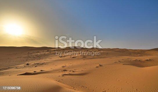 Salty Desert in Tunisia at dawn sunrise. Artistic shallow DOF