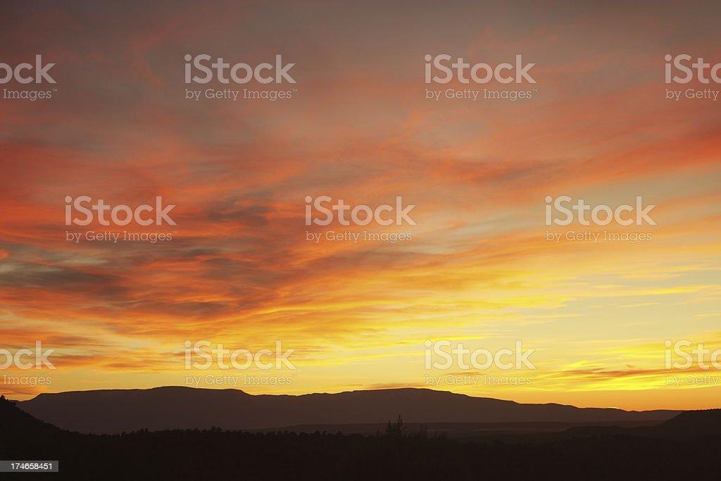 Desert Landscape Sunset Silhouette Sky stock photo