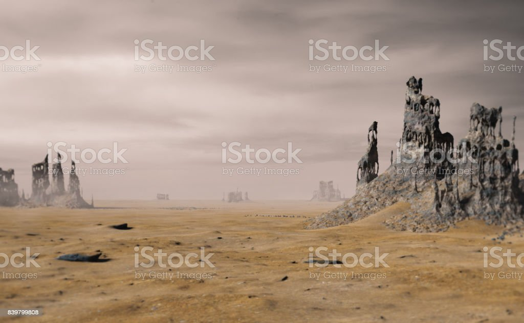 desert landscape with ancient ruins stock photo