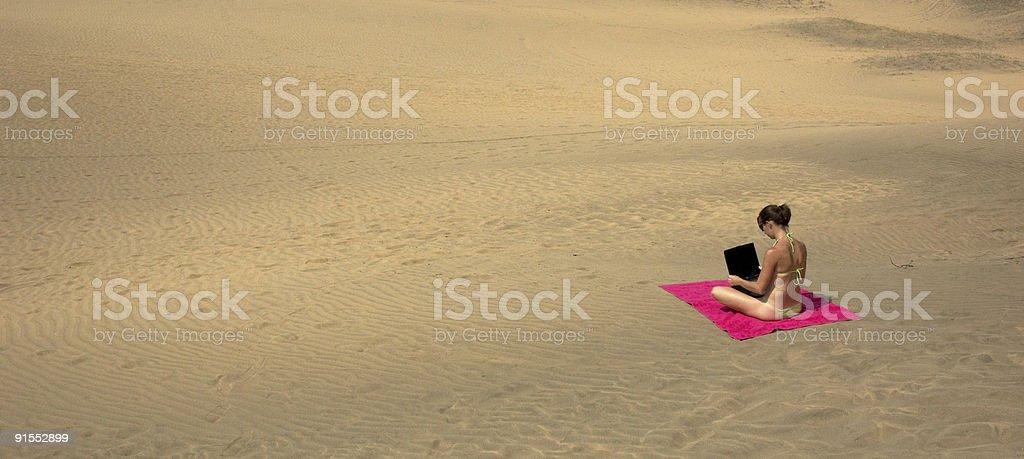 Desert laptop royalty-free stock photo