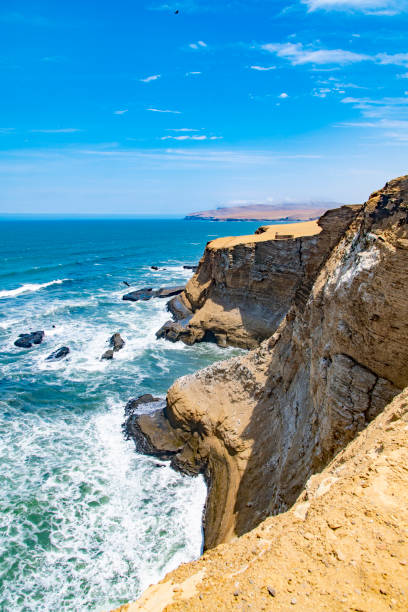 Desert meets ocean The desert of the Paracas National Reserve meets the waves of the Pacific Ocean in the south west of Peru, South America. pisco peru stock pictures, royalty-free photos & images