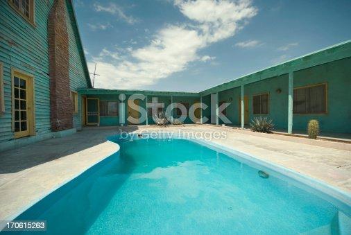 Pool at an old desert motel.