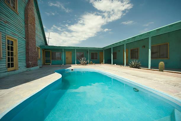 Desert Motel Pool stock photo