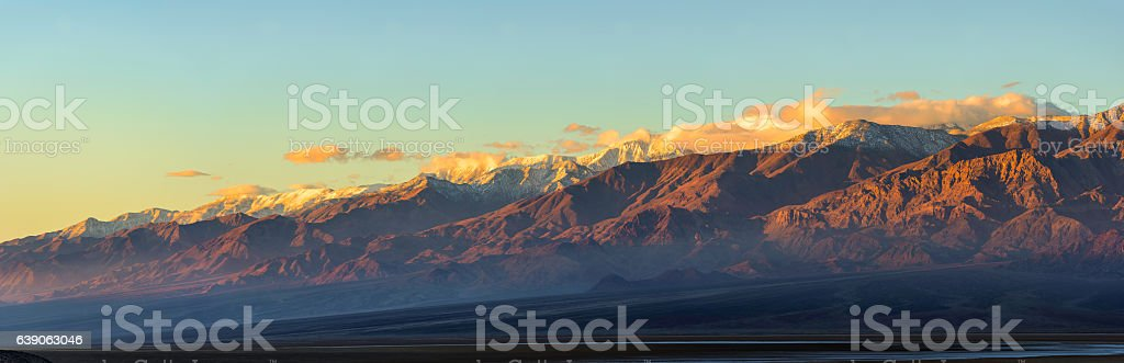 Panoramic view of sunrise at Death Valley National Park