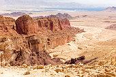 Desert mountains ridge range cliffs scenic view landscape, travel destination nature  Negev Israel.