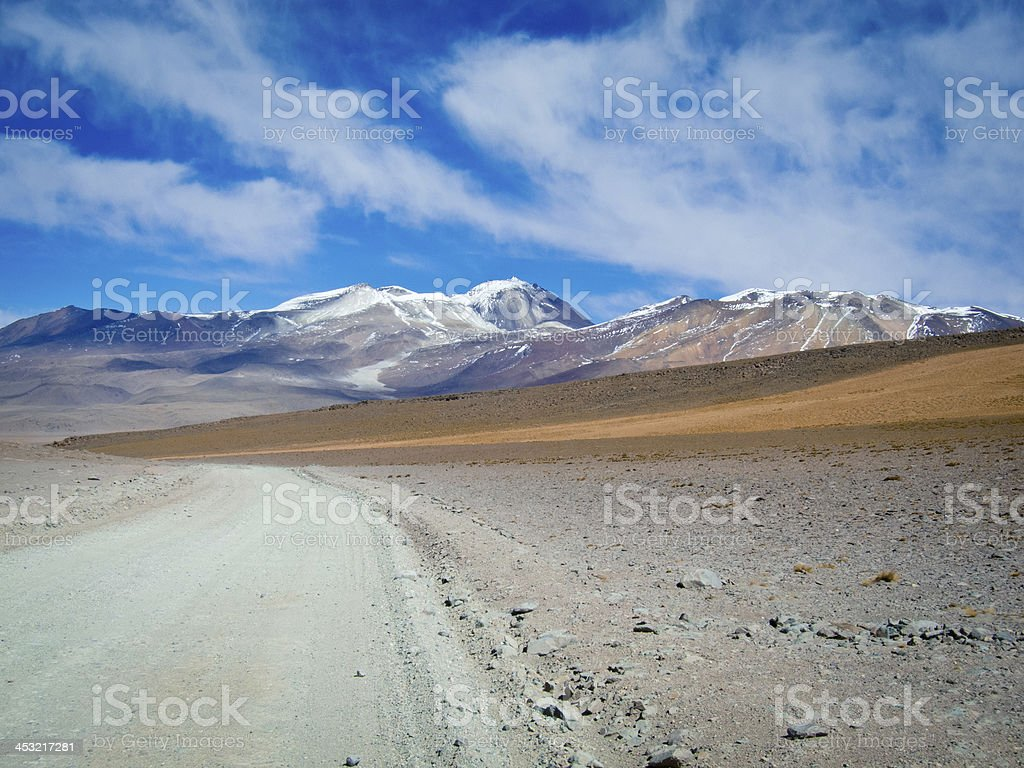 Landscape view of dirt road in Andes mountains, Reserva de Fauna...