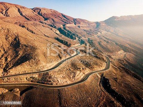 Desert mountain road on the Jais mountain in the UAE aerial view