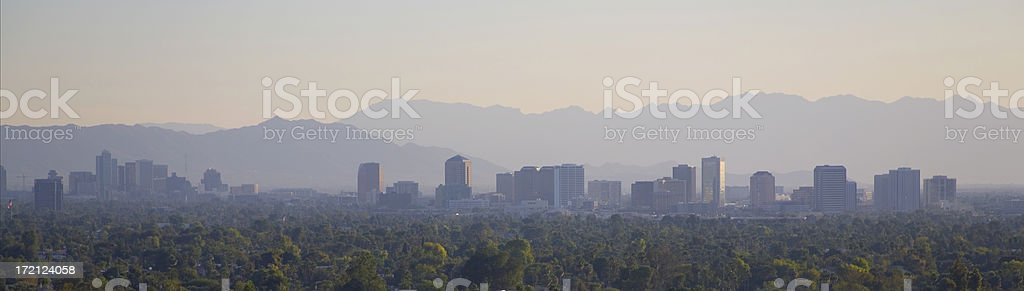 Desert Mountains and Downtown at Dusk royalty-free stock photo