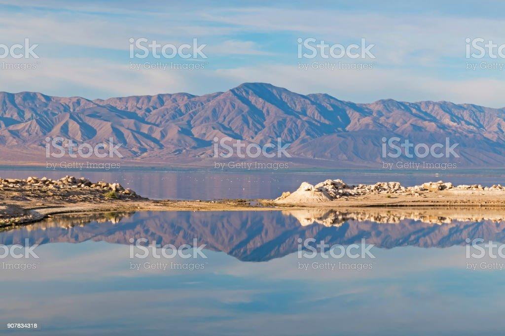 Desert mountains at the Salton Sea Marina stock photo